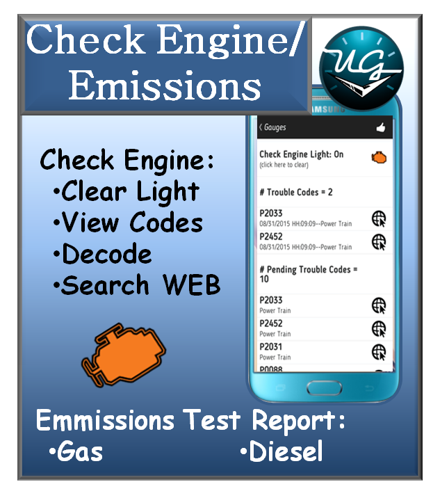 Button to OBDII Check Engine Light and Readiness